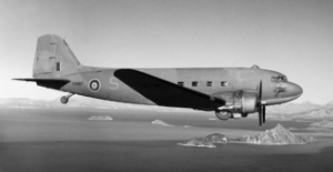 Dakota 267 Sqn RAF in flight over Adria 1944